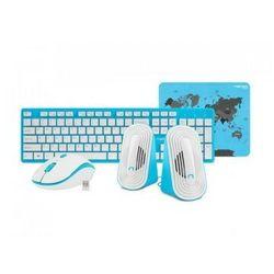 Zestaw do domu i biura Natec Tetra niebiesko-biały: Klawiatura + myszka + głośniki + podkładka