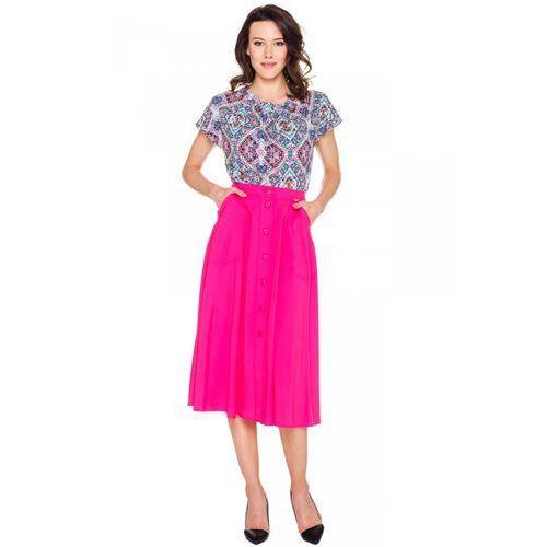 Spódnice, Różowa spódnica zapinana na guziki - Potis & Verso