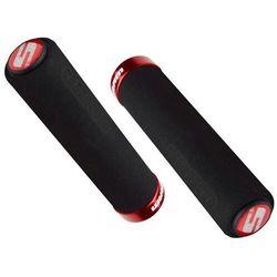 Chwyty kierownicy profilowane Sram Locking Grips Contour Foam 129mm czarne z czerwoną obejmą i korkami