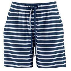 Bermudy shirtowe bonprix ciemnoniebiesko-biały w paski