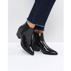 ASOS RHIANNON Leather Western Ankle Boots - Black