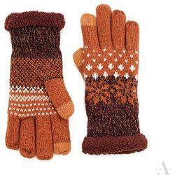 Rudo-brązowe rękawiczki damskie z gwiazdkami i futerkiem - brązowy ||pomarańczowy