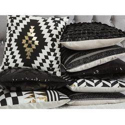 Poduszka dekoracyjna geometryczne wzory bawełniana czarna/złota 45 x 45 cm