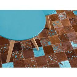 Dywan - brązowo-niebieski - skóra - patchwork - 140x200 cm - ALIAGA