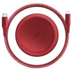 UNIQ kabel MFI Halo USB-C-Lightning 18W nylonowy zwijany 1,2m czerwony/carmine red - Czerwony