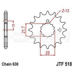 Zębatka przednia JT F518-15, 15Z, rozmiar 630 2200201 Kawasaki Z 750, Suzuki GS 750