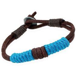 Bransoletka męska skóra sznurek brązowa niebieska - niebieski