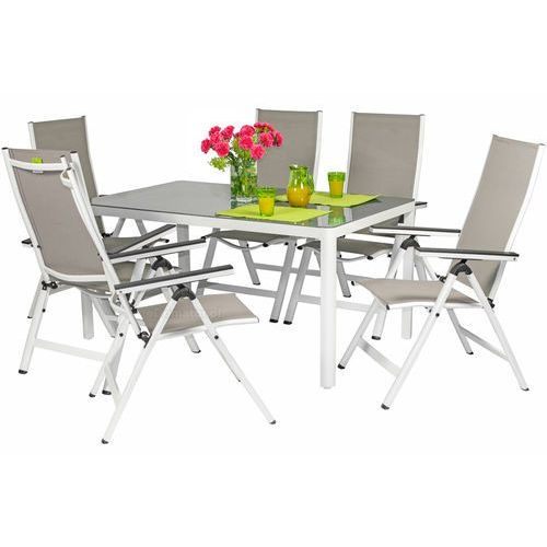 Zestawy ogrodowe, Meble ogrodowe aluminiowe VERONA VETRO Stół i 6 krzeseł - białe - hartowane szkło