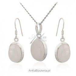 ankabizuteria.pl Kamień na szczęście - kamień księżycowy -komplet srebrny