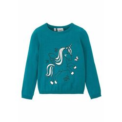 Sweter bawełniany dziewczęcy bonprix morski turkusowy