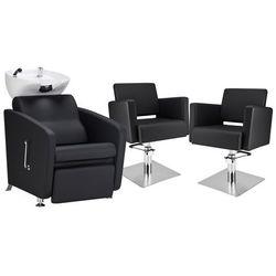 Zestaw Mebli Fryzjerskich - Myjnia Komfort Max + 2 Fotele Premium Kwadrat