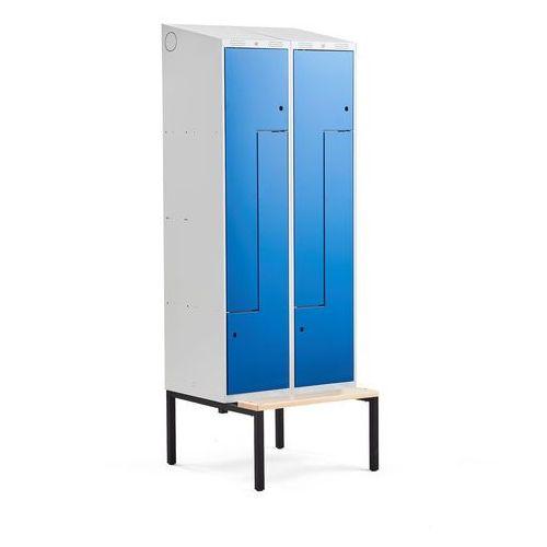 Szafki do przebieralni, Szafka ubraniowa typu Z, CLASSIC, z ławką, 2 moduły, 4 drzwi, 2290x800x550 mm, niebieski
