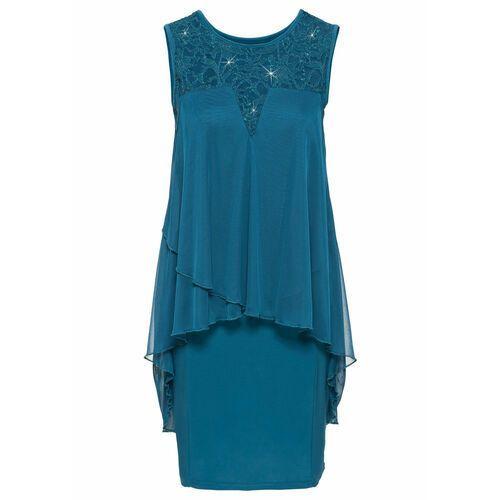Suknie i sukienki, Sukienka z dżerseju i szyfonu bonprix ciemna zieleń morska