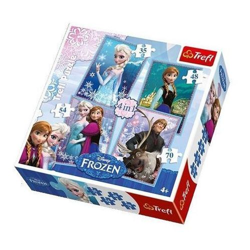 Puzzle, Puzzle Ledové království/Frozen 4v1 v krabici 28x28x6cm