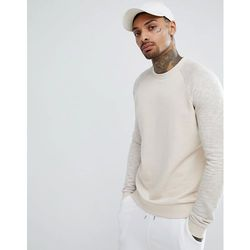 ASOS DESIGN Sweatshirt In Beige With Interest Fabric Raglan Sleeves - Beige