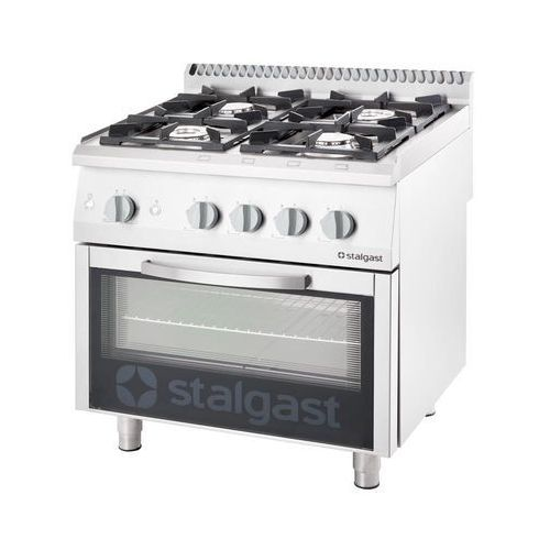 Piece i płyty grzejne gastronomiczne, Kuchnia gazowa 20,5 kW z piekarnikiem elektrycznym 600x400 STALGAST 9716110