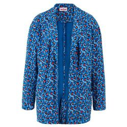 Długa bluza bez zapięcia, z delikatnie lejącego materiału z nadrukiem bonprix lazurowy z nadrukiem