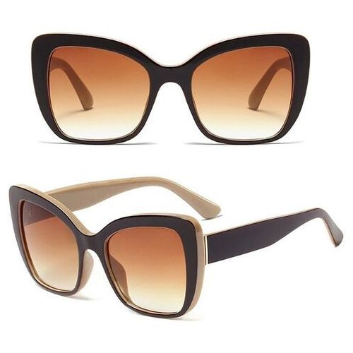 Okulary przeciwsłoneczne, Okulary przeciwsłoneczne damskie brązowe kocie oko