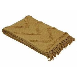 Pled z frędzlami ASPEN - bawełna tuftowana tkana ręcznie - 125 x 150 cm - kolor musztardowy