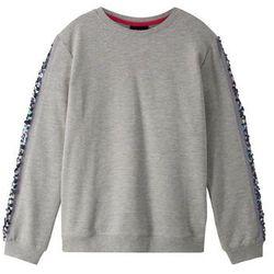 Bluza z wstawką z cekinami bonprix jasnoszary melanż