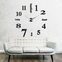 Zegary, Nowoczesny zegar ścienny czarny ANGIELSKI czarny większa niż 50 cm