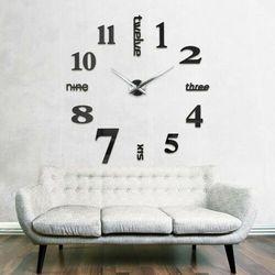 Nowoczesny zegar ścienny czarny ANGIELSKI czarny większa niż 50 cm