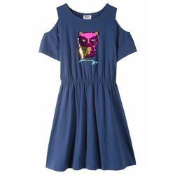 Sukienka z wycięciami na ramionach i obracanymi cekinami bonprix kobaltowy