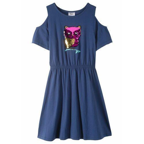 Sukienki dla dzieci, Sukienka z wycięciami na ramionach i obracanymi cekinami bonprix kobaltowy