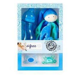 Zestaw podarunkowy Difrax pro chlapečka (láhev, dudlík 2ks, plyšová hračka) Niebieska