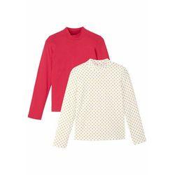 Shirt dziewczęcy z golfem (2 szt.), bawełna organiczna bonprix czerwono-biel wełny z nadrukiem