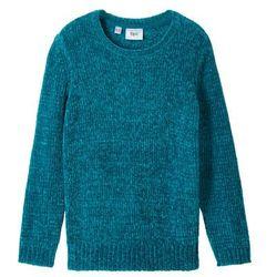 Sweter dzianinowy z szenili bonprix morski turkusowy