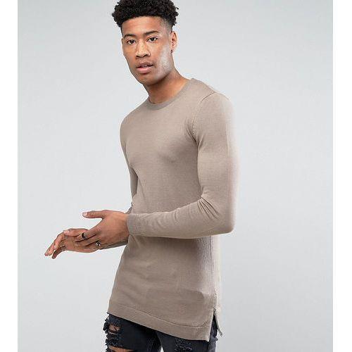 Pozostała odzież męska, ASOS TALL Muscle Fit Longline Jumper With Side Zips In Oatmeal - Beige