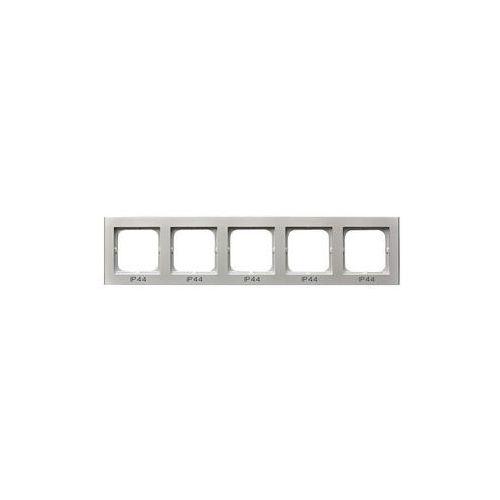 Ramki do gniazd i włączników, Ramka pięciokrotna do zestawów IP-44 Srebro mat - RH-5R/38 Sonata