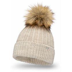 Ciepła czapka damska z pomponem PaMaMi- Beżowy