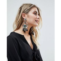 ASOS DESIGN Statement Engraved Disc And Crescent Stone Tassel Earrings - Silver