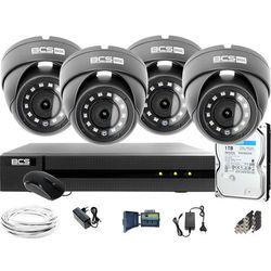 Monitoring Full HD BCS Basic Full HD 2MPx 1TB H265+ 4 x Kamera kopułkowa 2.8mm IR 30m Rejestrator 8 kanałowy