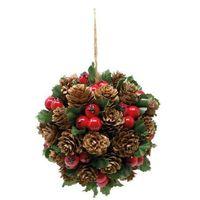 Ozdoby świąteczne, Dekoracja wisząca Kula z ostrokrzewu - 15 cm - 1 szt.