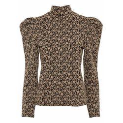 Shirt z długim rękawem z grubszego materiału bonprix ciemnozielony w kwiaty