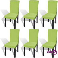 vidaXL Elastyczne pokrowce na krzesła w prostym stylu zielone 6 szt. Darmowa wysyłka i zwroty