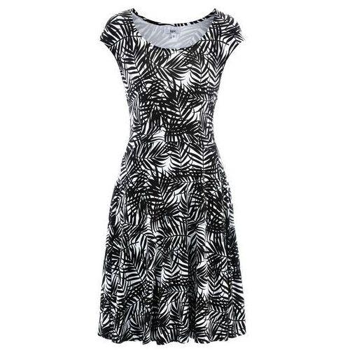 Suknie i sukienki, Sukienka z dżerseju bonprix biało-czarny z nadrukiem
