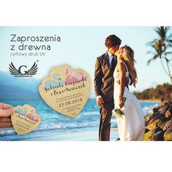 Zaproszenia ślubne z drewna - cyfrowy druk UV - ZAP005