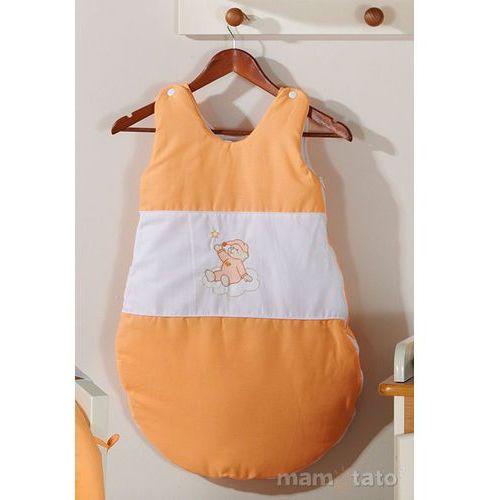 Śpiworki dla niemowląt, MAMO-TATO Śpiworek haftowany Miś na chmurce w łososiu