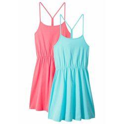 Sukienka letnia dziewczęca (2 szt. w opak.) bonprix morski + jasnoróżowy