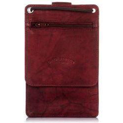 Skórzana saszetka męska na szyję paszportówka brąz z burgundem - brązowy z odcieniem burgundu