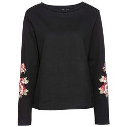Bluza z kwiatowym haftem bonprix czarny