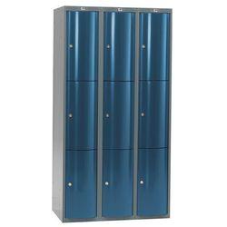 Metalowa szafa ubraniowa CURVE, 4x3 drzwi, 1740x1200x550 mm, niebieski