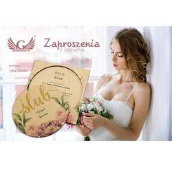 Zaproszenia ślubne z drewna - cyfrowy druk UV - ZAP047