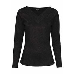 Shirt w prążek z lureksową nitką bonprix czarny