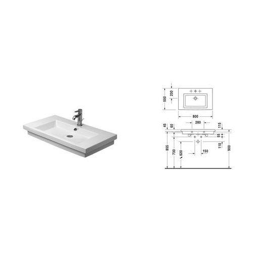 Umywalki, DURAVIT 2ND FLOOR Umywalka 80 cm biała z 1 otworem 0491800027