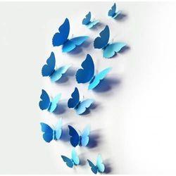 Ozdobne motylki niebieskie - 11 x 9 cm - 12 szt.